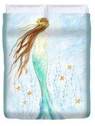 Mermaid In Her Garden Duvet Cover