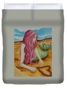 Mermaid On Sand With Heart Duvet Cover