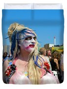 Mermaid Parade Man In Coney Island Duvet Cover