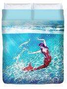 Mermaid Red Duvet Cover