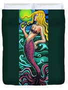 Mermaid With Pearl Duvet Cover