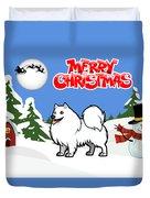 Merry Christmas American Eskimo Dog  Duvet Cover