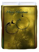 Merry Christmas Greetings In Soft Yellow Duvet Cover