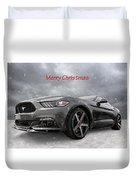 Merry Christmas Mustang S550 Duvet Cover