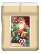 Merry Christmas Santa Delivers Gifts Vintage Card Duvet Cover
