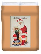 Merry Christmas Santa Pulls Doll From His Sack Vintage Card Duvet Cover