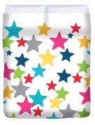 Messy Stars- Shirt Duvet Cover by Linda Woods