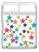 Messy Stars- Shirt Duvet Cover by Linda Woods