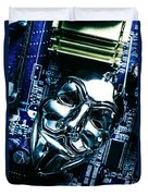 Metal Anonymous Mask On Motherboard Duvet Cover