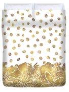 Metallic Gold Floral Flower Swirls Trendy Unique Art By Madart Duvet Cover