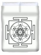 Metatron's Cube - Black Duvet Cover