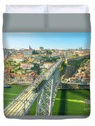Metro Train Over Porto Bridge Duvet Cover