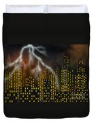 Metropolis At Stormy Night Duvet Cover
