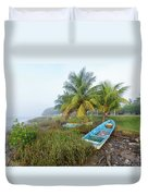Mexican Boat In The Fog Duvet Cover