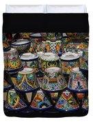Mexican Flowerpots Duvet Cover