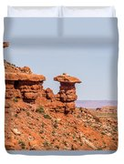 Mexican Hat Rock Monument Landscape On Sunny Day Duvet Cover