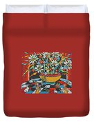 Mexican Vase With Spring Flowers Duvet Cover