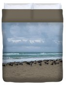 Miami Beach Flock Of Birds Duvet Cover