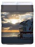 Miami Beach Life Guard House Sunrise 2 Duvet Cover