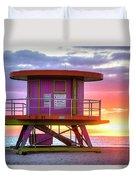 Miami Beach Round Life Guard House Sunrise Duvet Cover