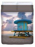 Miami Lifeguard Cabin At Sunrise Duvet Cover