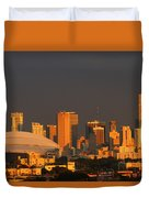 Miami Skyline At Sunset Duvet Cover