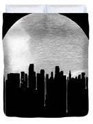 Miami Skyline Black Duvet Cover