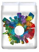 Miami Small World Cityscape Skyline Abstract Duvet Cover