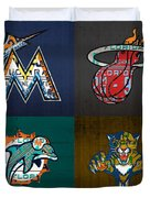 Miami Sports Fan Recycled Vintage Florida License Plate Art Marlins Heat Dolphins Panthers Duvet Cover