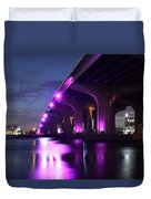 Miami Under The 395 At Night Duvet Cover