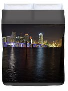 Miami's Downtown At Night Duvet Cover
