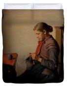 Michael Ancher - Skagen Girl, Maren Sofie, Knitting. Duvet Cover