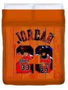 Michael Jordan Wood Art 1b Duvet Cover