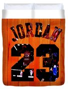 Michael Jordan Wood Art 1c Duvet Cover