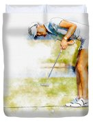 Michelle Wie Of Usa Putting At The  Lpga Lotte Championship  Duvet Cover