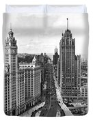 Michigan Avenue In Chicago Duvet Cover