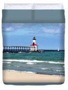 Michigan City Lighthouse Duvet Cover