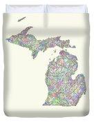 Michigan Line Art Map Duvet Cover
