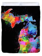 Michigan Map Color Splatter 2 Duvet Cover