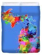 Michigan Map Color Splatter 3 Duvet Cover