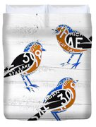 Michigan Robins State Bird Recycled Vintage License Plate Art On White Barn Wood Duvet Cover