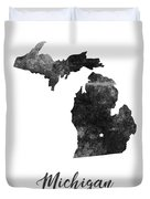 Michigan State Map Art - Grunge Silhouette Duvet Cover