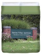 Michigan State University Spartan Village Signage Duvet Cover