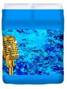 Microphone On Blues Fire Duvet Cover