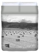 Mid June Colorado Hay  And The Twin Peaks Longs And Meeker Bw Duvet Cover