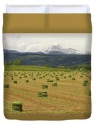 Mid June Colorado Hay  And The Twin Peaks Longs And Meeker Duvet Cover