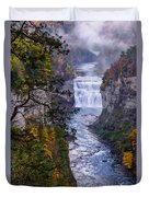 Middle Falls Letchworth State Park Duvet Cover by Dick Wood