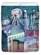 Midnight Colliery Original Watercolour Painting Duvet Cover