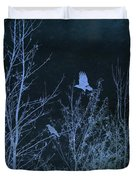 Midnight Flight Silhouette Blue Duvet Cover