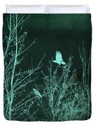 Midnight Flight Silhouette Teal Duvet Cover